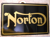 Norton Motorcycle Sign Gold on Black