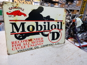 MOBIL D OIL MOTORCYCLE SIGN