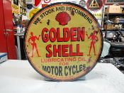 Shell Golden Motorcycle Oil Sign