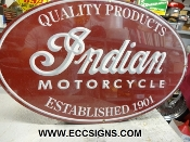 INDIAN MOTORCYCLE 1901 LG OVAL SIGN